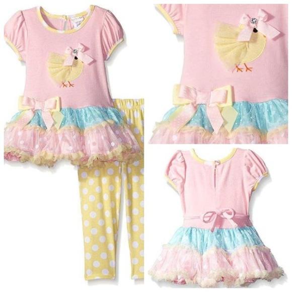 Sweet Heart Rose Other - Girls Easter Chick Tier Tutu Dress Legging Set New